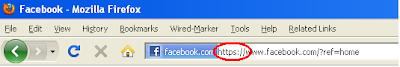 https Facebook URL in address bar