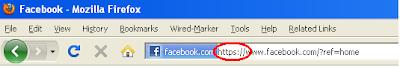 https Facebook URL in address bar