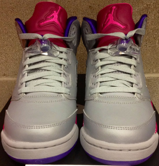 7477e3289d18 Girl s Air Jordan 5 Retro GS Cement Grey Pink Foil-Raspberry Red-Electric  Purple August 2013