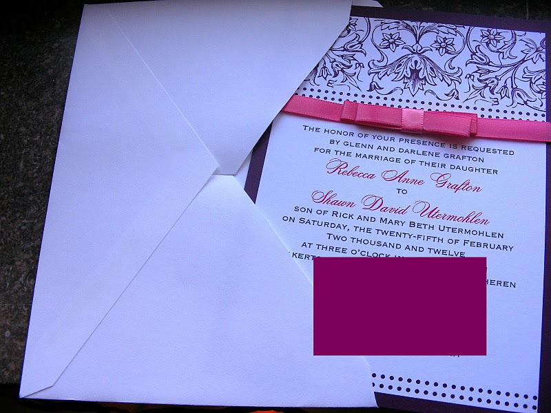 Wedding Invitation Outer Envelope: My Purple & Pink Wedding Invitations