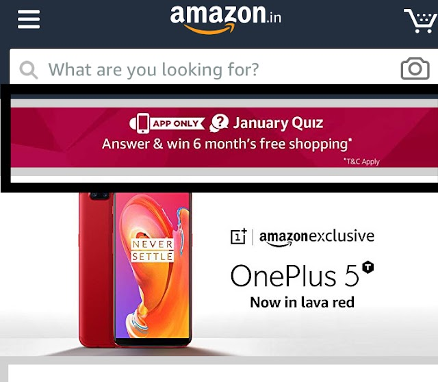 Amazon January Quiz Contest : Answer and win 6 month free shopping