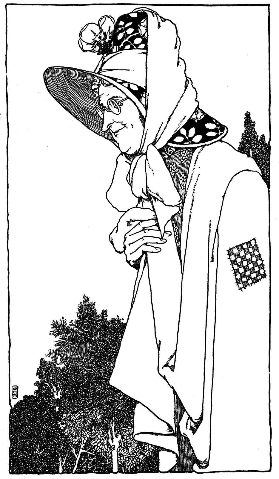 a book illustration by W. Heath Robinson, a smiling poor woman