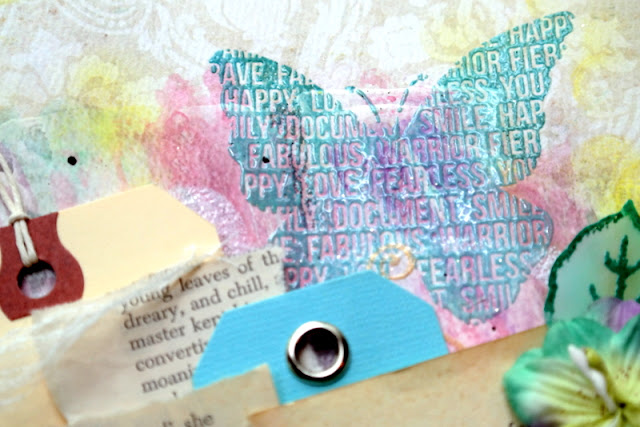 Embossed Blue Text Butterfly Stamp