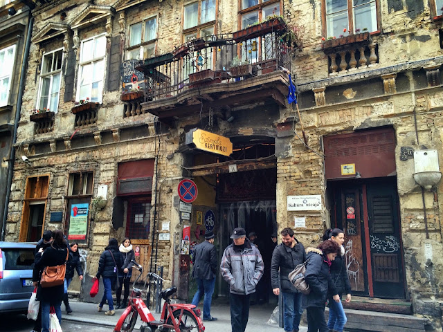 Outside Szimpla Kert ruin bar, Budapest