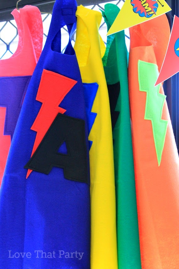 image of felt superhero capes at kids birthday party