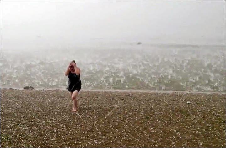 Freak Hail Storm Hits Siberian Beach In Mid Summer Snow