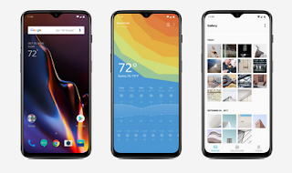 OnePlus 6T three mobiles front and unlocked display