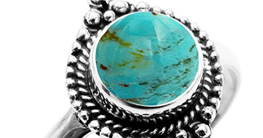 Genuine Turquoise Gemstone 8x8mm Round & .925 Silver Overlay Handmade Fashion Rings on Amazon.com