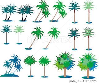 木のパーツ、イラスト、植物カット、背景パーツイラスト、イラスト制作