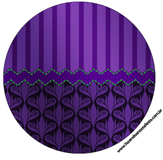 Purple with Arabesques and Stripes: Free Printable Cupcake Toppers and Wrappers.