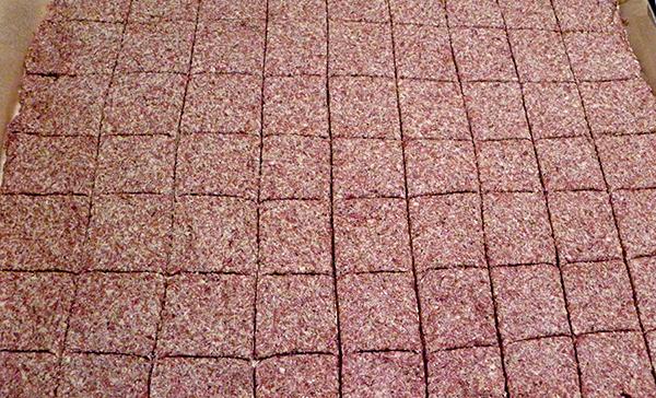 Dough on baking sheet scored into squares