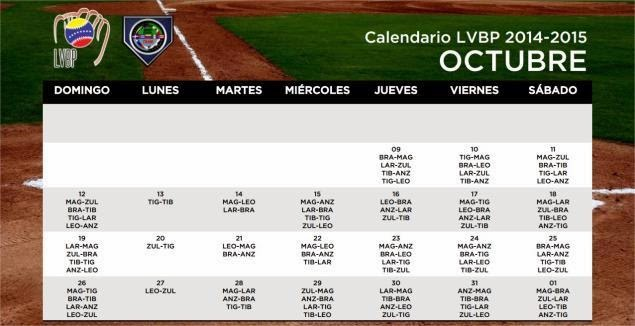Calendario de Beisbol Profesional Venezolano LVBP 2014 - 2015 . Octubre