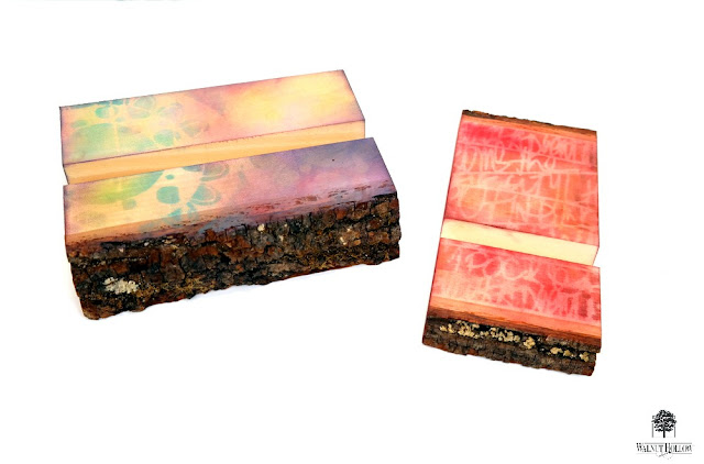 Bark Edge Tablet and Phone Stands Reverse Resist with PanPastels by Dana Tatar