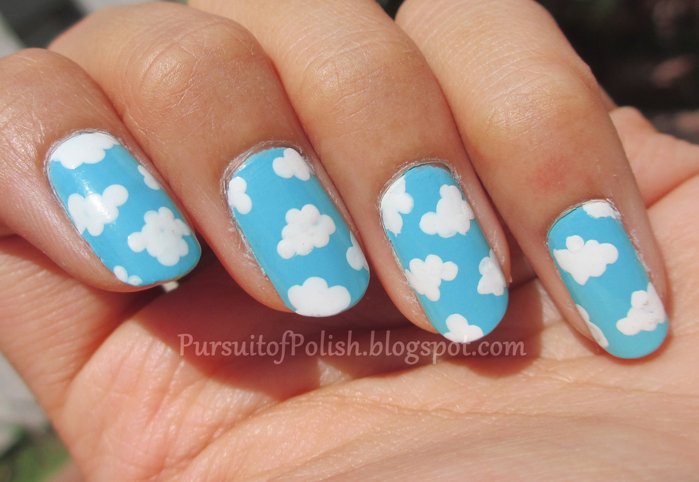 In pursuit of polish ez pz fluffy clouds nail art - Simple nail polish designs at home ...