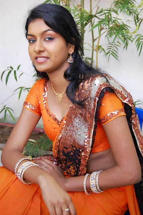 Latest Movies Gallery Akshida Hot Orange Blouse Navel -6654