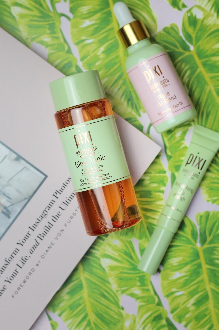 pixi skincare review: glow tonic, rose oil blend and nourishing lip polish