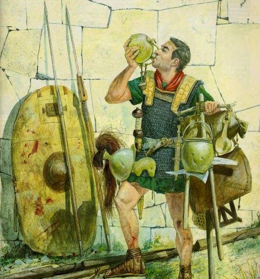 legionaries drinking after battle