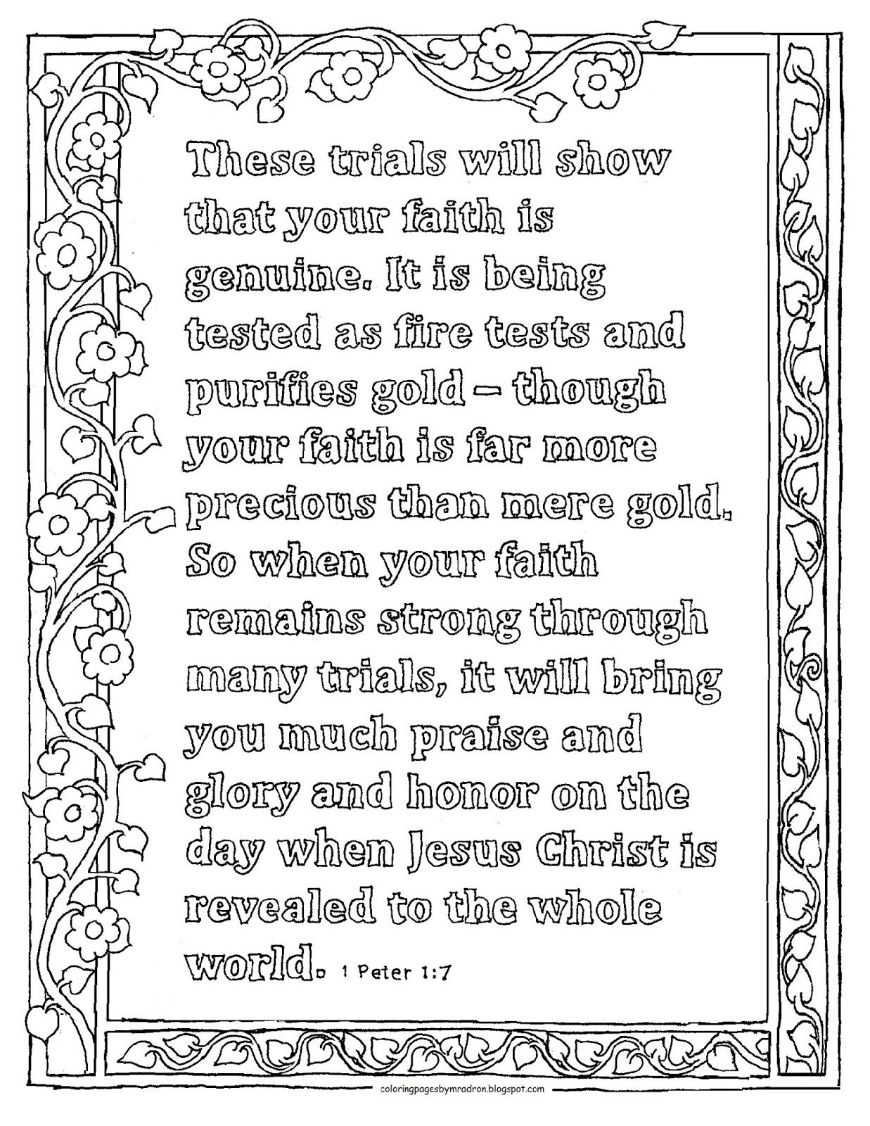 Coloring Pages for Kids by Mr. Adron: 1 Peter 1:7 Print