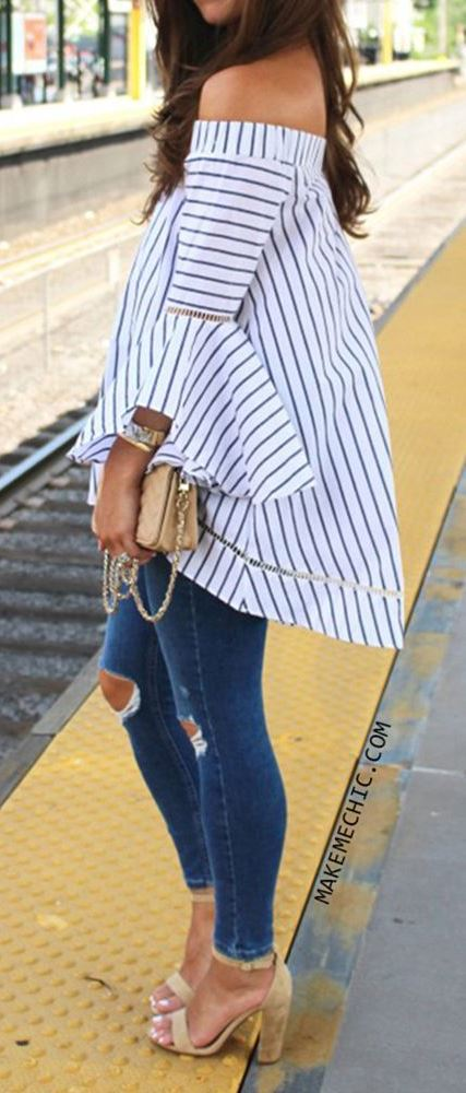 summer casual style perfection: top + bag + rips