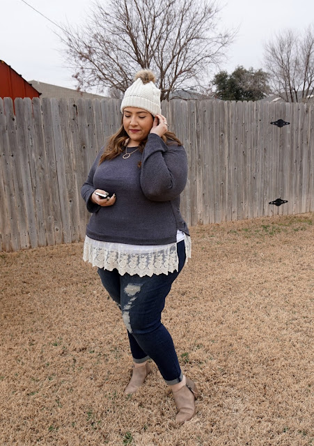Plus Size Winter Outfit -- Distressed Denim & Lace | beautywithlily.com
