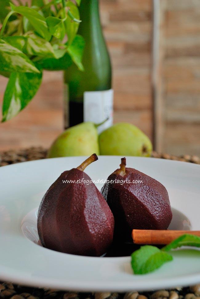 Receta de peras al vino tinto