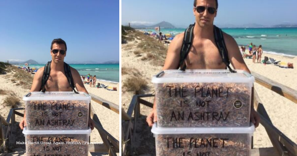 Guy Fills Up Two Huge Boxes with Discarded Cigarettes from Beach