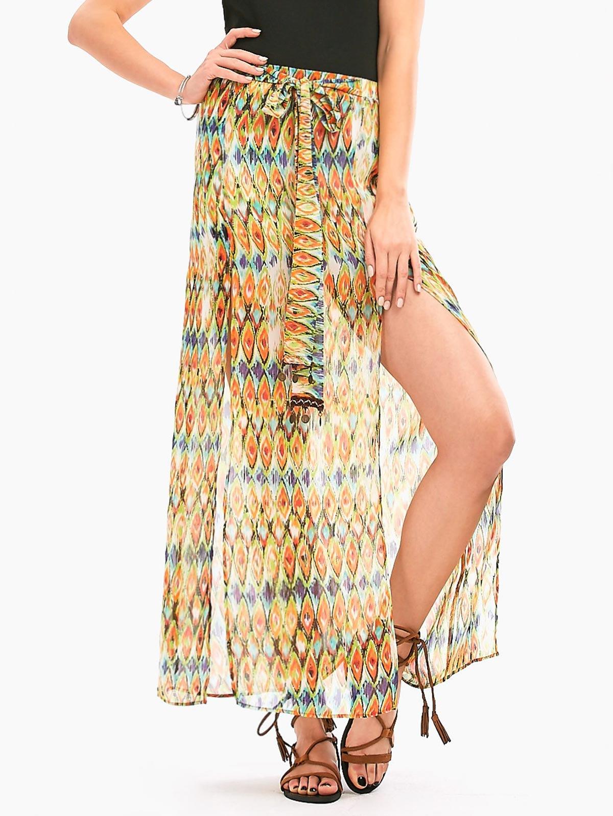 Snake Printed High Slit Long Chiffon Skirt