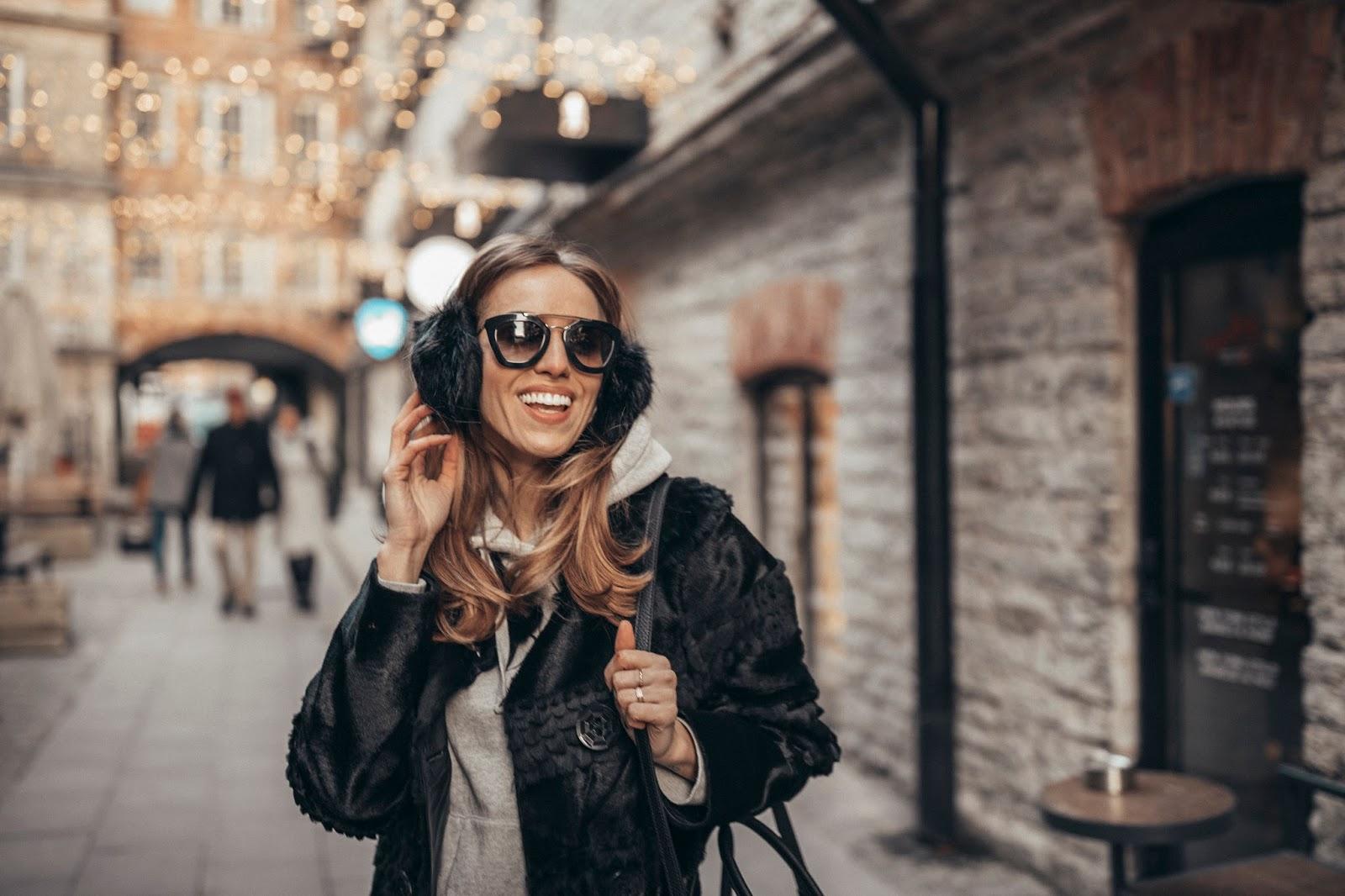 trussardi black furry ear muffs prada sunglasses outfit