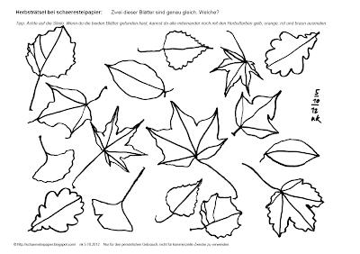 schaeresteipapier: herbstzeit - blätterrätsel