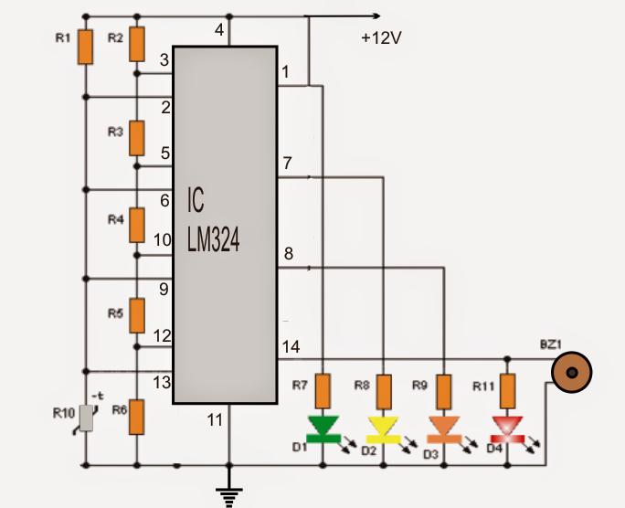 4 LED Temperature Indicator Circuit