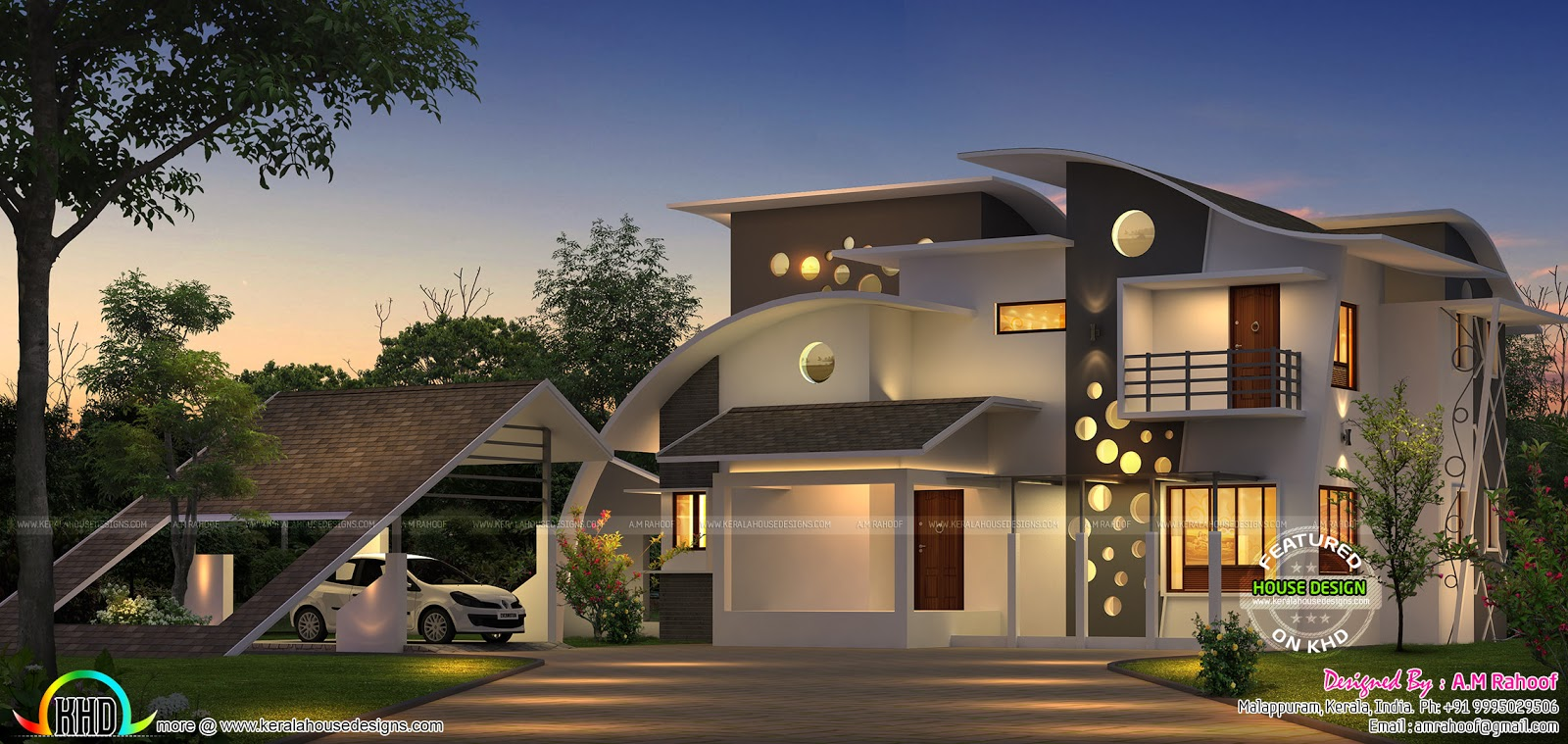 Unique House With Cantilever Balcony Kerala Home Design