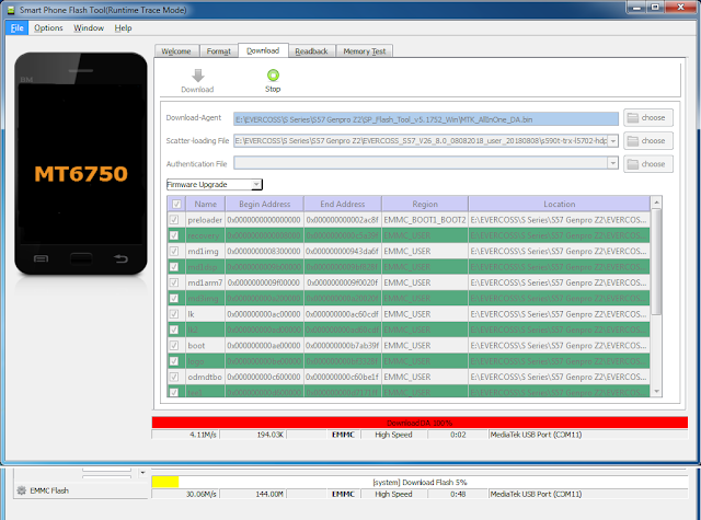 Proses Flash Genpro Z2 S57 via SP Flashtool sedang berjalan