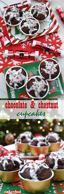 chocolate cupcakes with added chestnut puree made to look like christmas puddings