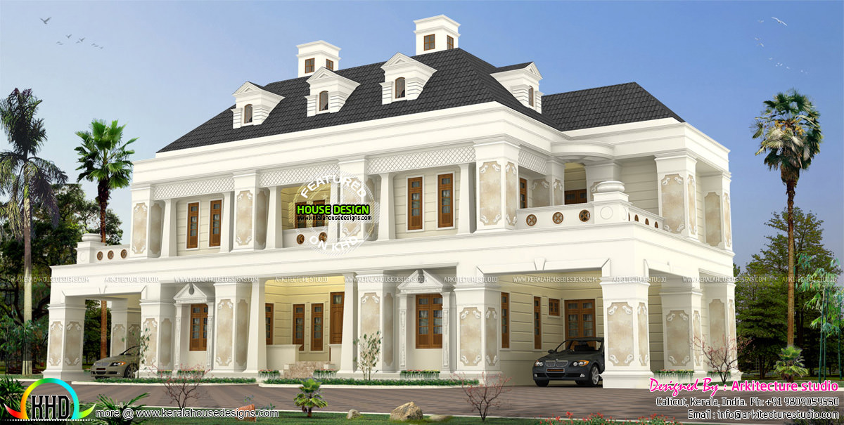 460 sq m colonial home kerala home design and floor plans for Colonial style house plans kerala