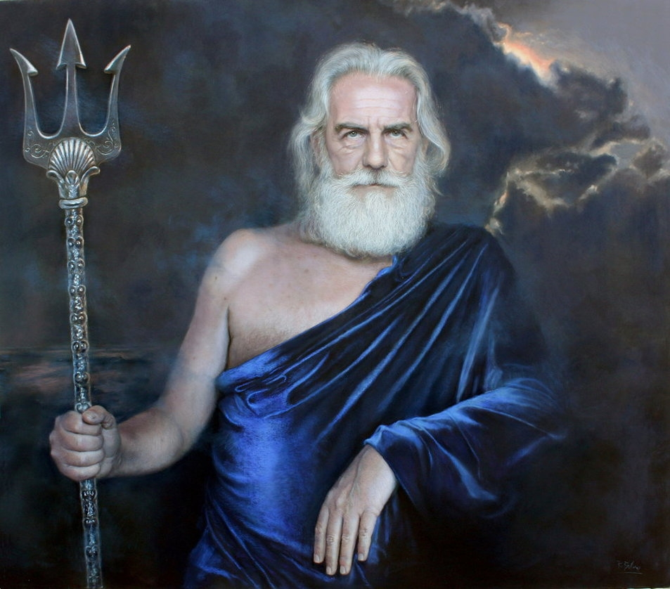 01-Poseidon-Drawings of Fictional Characters in Pastel on Wooden Canvas