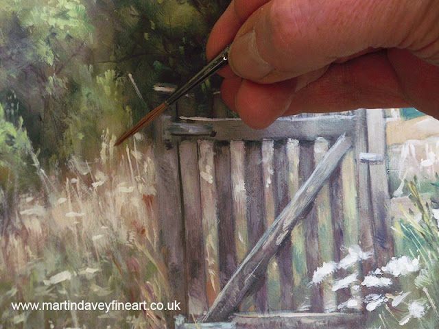 fence oil painting WIP Hampshire meon valley davey
