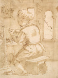 Young Painter Working by Annibale Carracci - Genre Drawings from Hermitage Museum