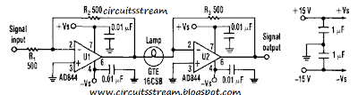 Low Distortion Amplifier cum Compressor Circuit Diagram
