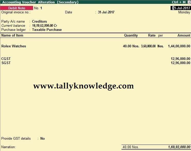 How to Record Purchase Return under GST in TallyERP9? - Tally Knowledge - debit note and invoice