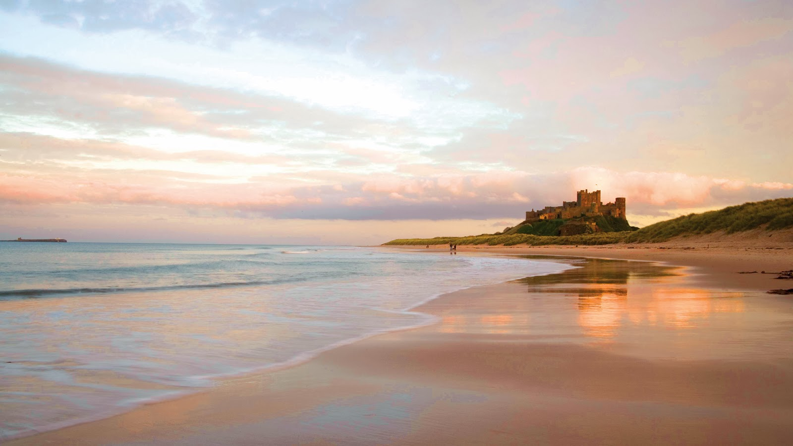 bamburgh castle beach, northumberland, uk