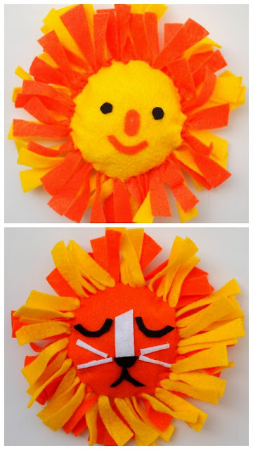 Cute summer kids fabric craft- super easy and cute no sew lion and felt pillows