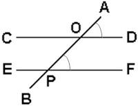 אם שני ישרים מקבילים נחתכים על-ידי ישר שלישי, אזי כל שתי זוויות מתאימות הן זהות