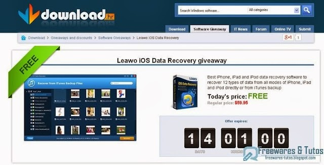 Offre promotionnelle : Leawo iOS Data Recovery gratuit !