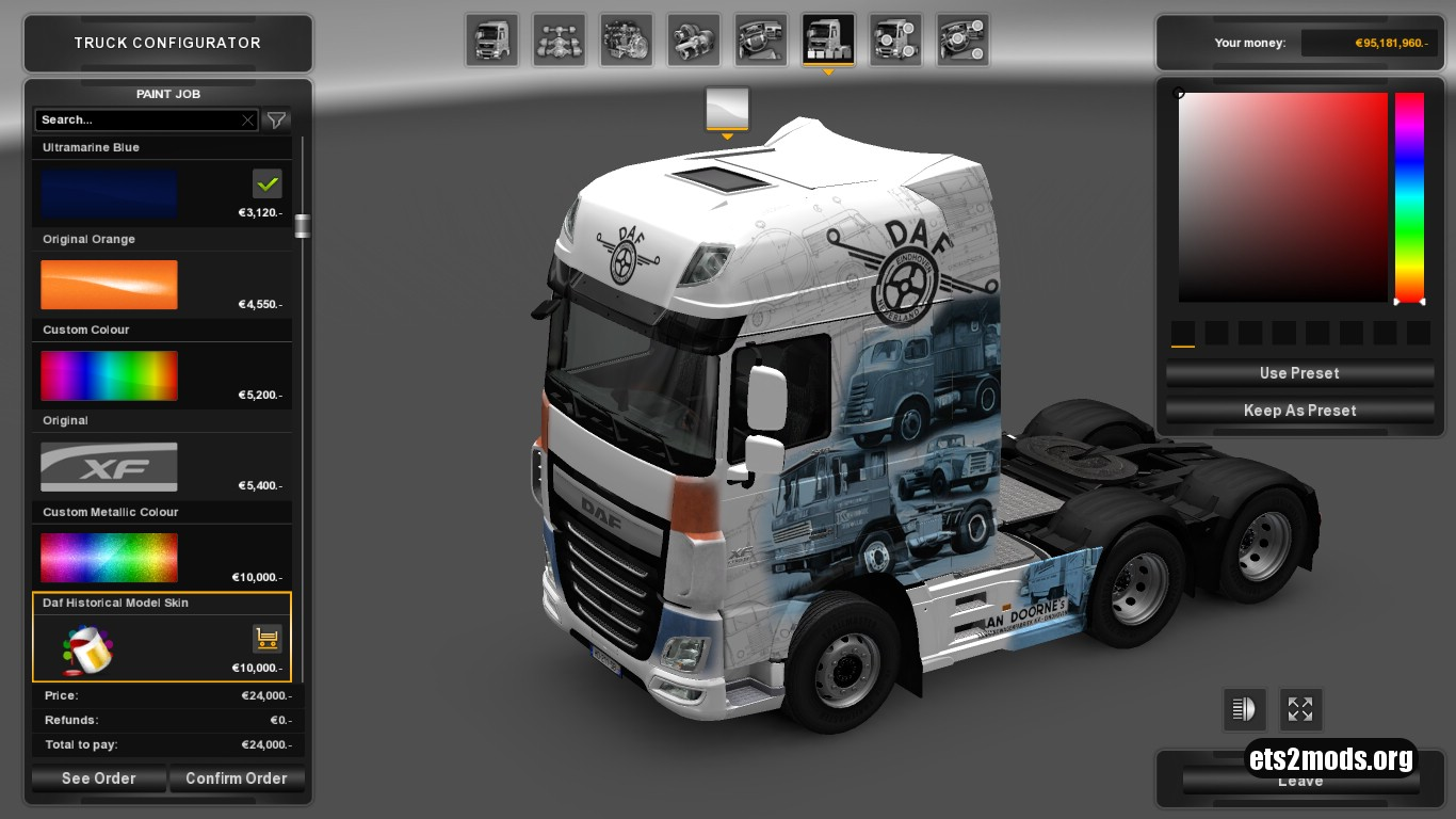 Historical DAF Trucks Skin for DAF Euro 6