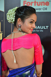 Shanvi Looks Super Cute in Pink Backless Choli Blue Saree at IIFA Utsavam Awards 2017 08.JPG
