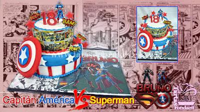 Tarta personalizada de fondant superman vs capitán américa marvel dc comics Laia's Cupcakes Puerto Sagunto