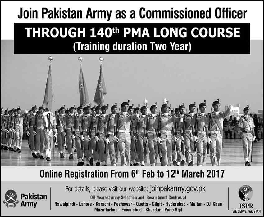 Join Pak Army through 140 PMA Long Course Commissioned Officer
