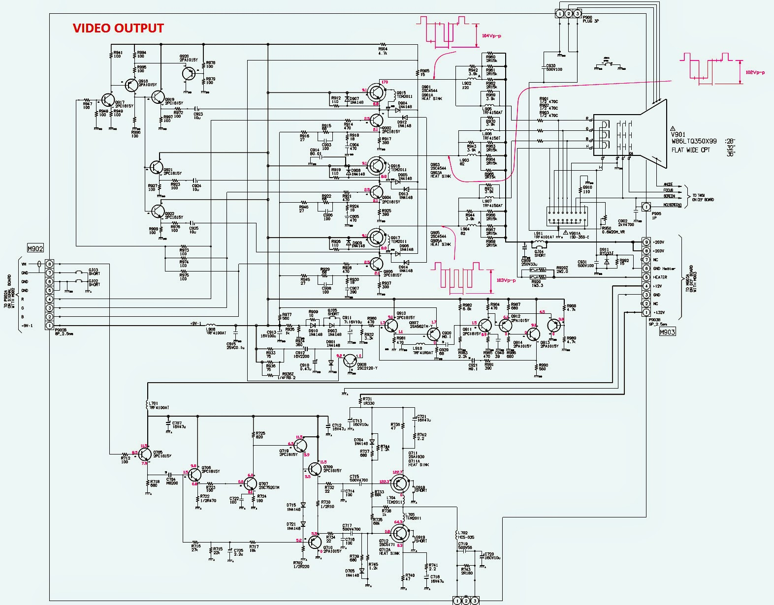 Toshiba 32zd36p Toshiba 36zd36p Smps Horizontal And Vertical Video Output Schematic