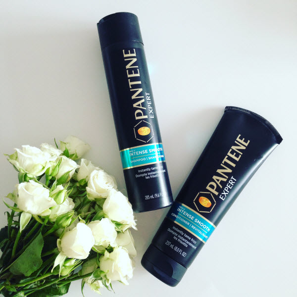 Pantene Expert Intense Smooth Shampoo and Conditioner. Tames frizz instantly.