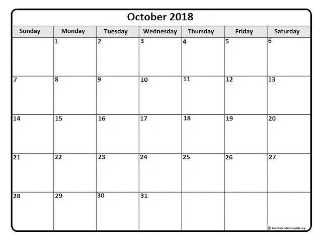 October 2018 A4 sheet
